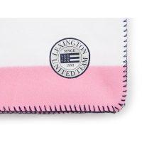 Block striped fleece throw, white/pink 130*170 – Lexington