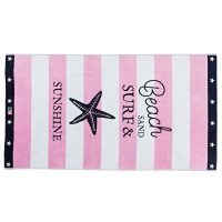 Graphic velour beach towel, pink/white 100*180 – Lexington