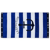 Graphic velour beach towel, blue/white 100*180 – Lexington