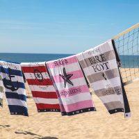 Graphic velour beach towel, blue/white 100*180 – Lexington
