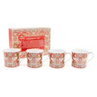 William Morris strawberry thief red mugg 4-p – William Morris