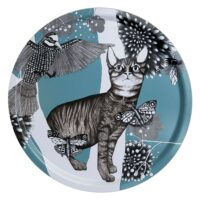 Bricka katten turkos 38 cm rund – Nadja Wedin