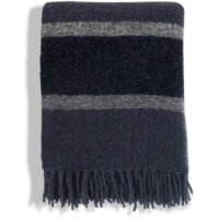 Blue Striped Wool Boucle Throw